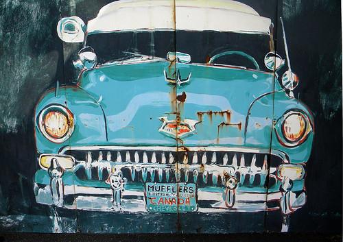 rusty car mural