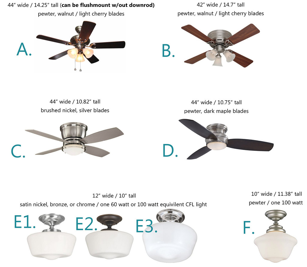 Ceiling Fan or Schoolhouse Light? - Take 2! (pics)