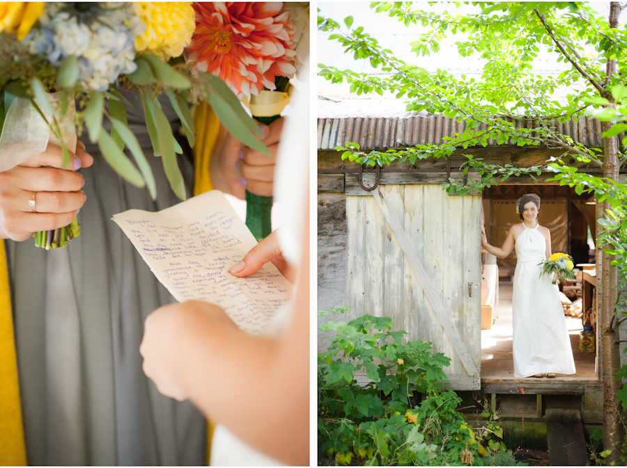 Bride in rustic building at Mt. Hood Organic Farms