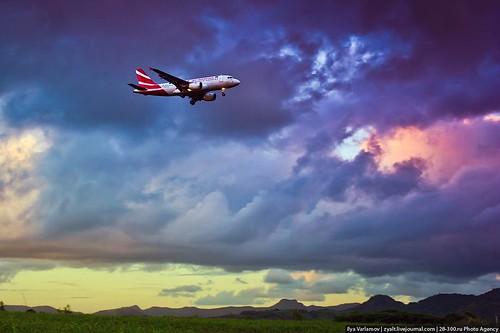 Plane takes off, Mauritius