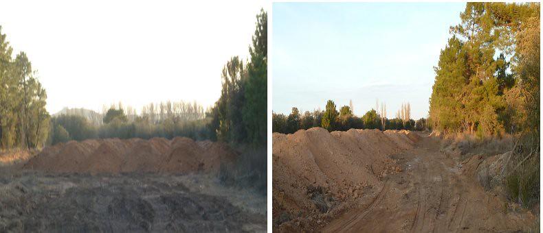 En pleno monte bajo Montecillo más desastres del Grupo Gerardo de la Calle donde echa los residuos de las extracciones de la zona de Las Tobas