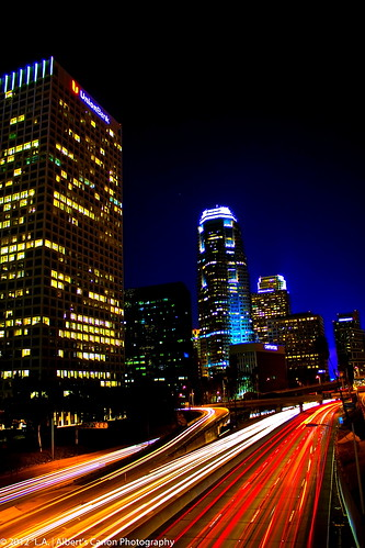 california longexposure nightphotography night eos angeles digitalphotography downtownlosangeles 110freeway ilovela trafficlighttrails top20la skylineskyscrapers discoverlosangeles canonrebelt2i albertvalles nighttraffichour skrscraperslos