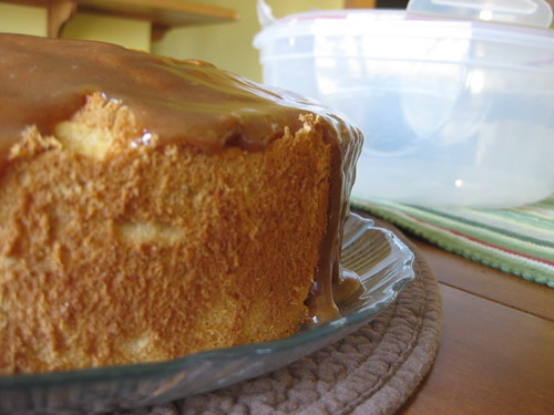 Pumpkin angelfood cake with salted caramel glaze