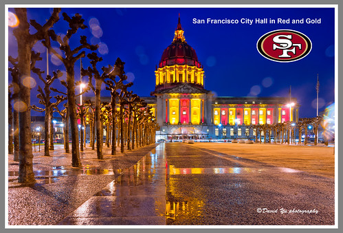 City Hall in Red and Gold. GO San Francisco 49ers!!!