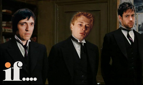 colin, thom and ed photoshopped into a still from the film If....