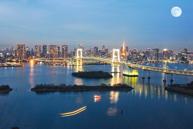 台場.彩虹橋夜景1(Odaiba Rainbow Bridge night view)