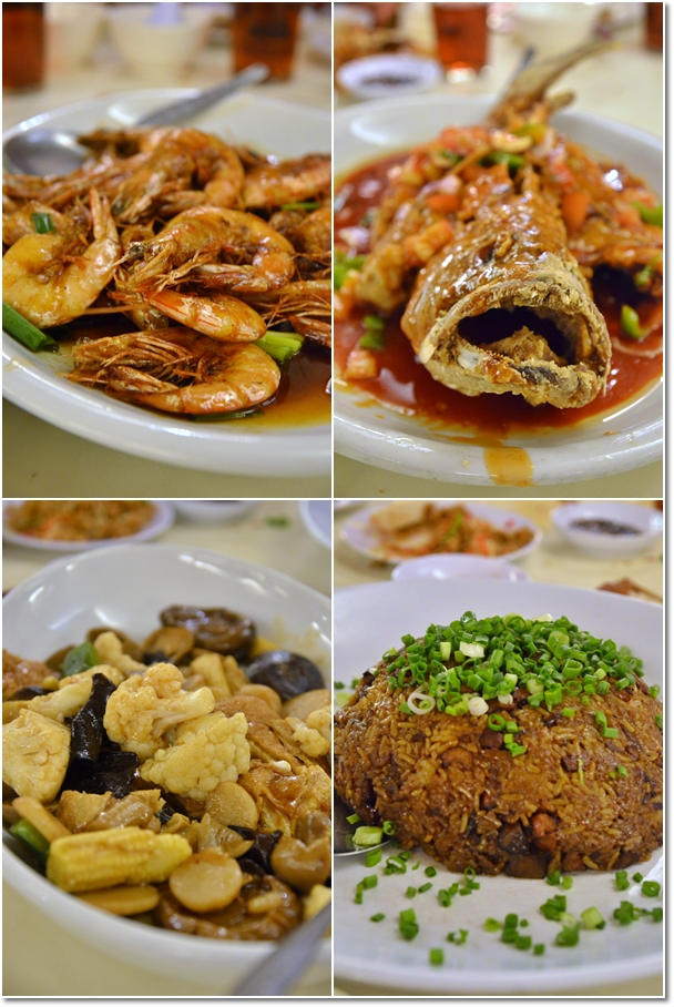 Prawns, Fish, Glutinous Rice, Vegetables