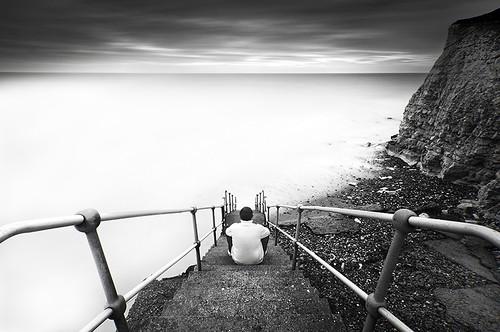 cliff selfportrait beach stairs sussex mono dramatic explore le railings seaford selfie explored simonanderson hitechprostopper leehardndgrad