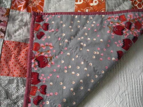 Tangerine Pearl Quilt back detail