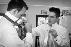 The groomsmen getting ready