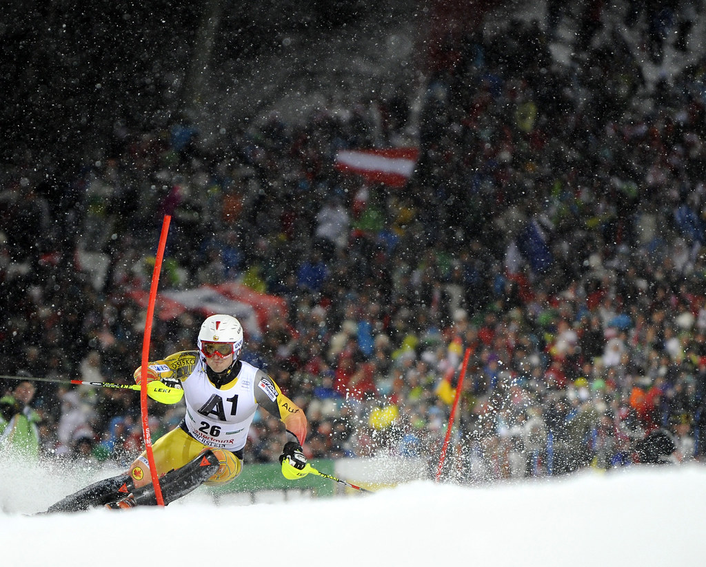 Brad Spence finishes 17th in Tuesday's night slalom in Schladming. (Gio Auletta/Pentaphoto)