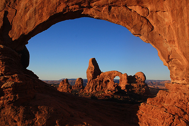Turret arch as seen through the North Window, Arches National Park, Moab