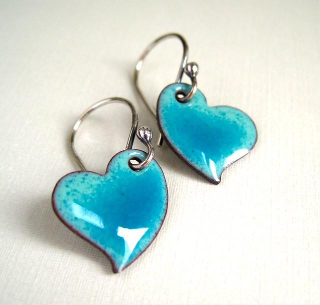 Hand Crafted Enamel House Necklace Pendant Copper Home: Enamel Jewelry Turquoise Enamel Heart Earrings