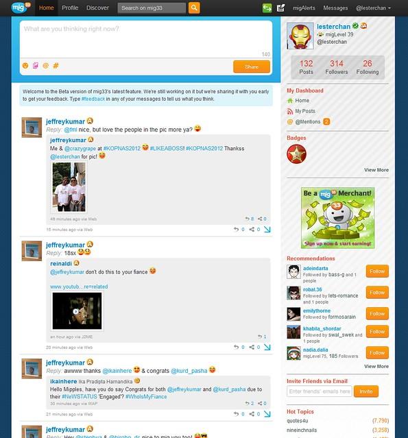 mig33's miniblog