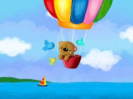 Bear in Hot Air Balloon by wedgienet