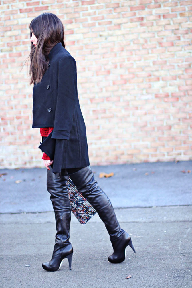 Zara clutch, Topshop over the knee boots, Zipper coat, Fashion outfit