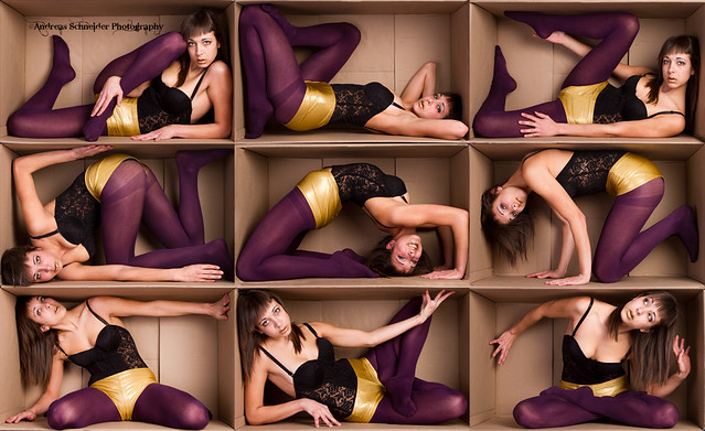 Purple and gold brunette in a box.