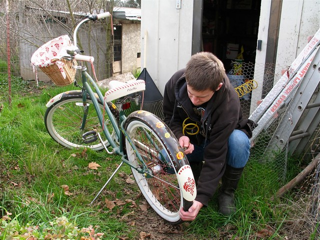 Filling the bike tires