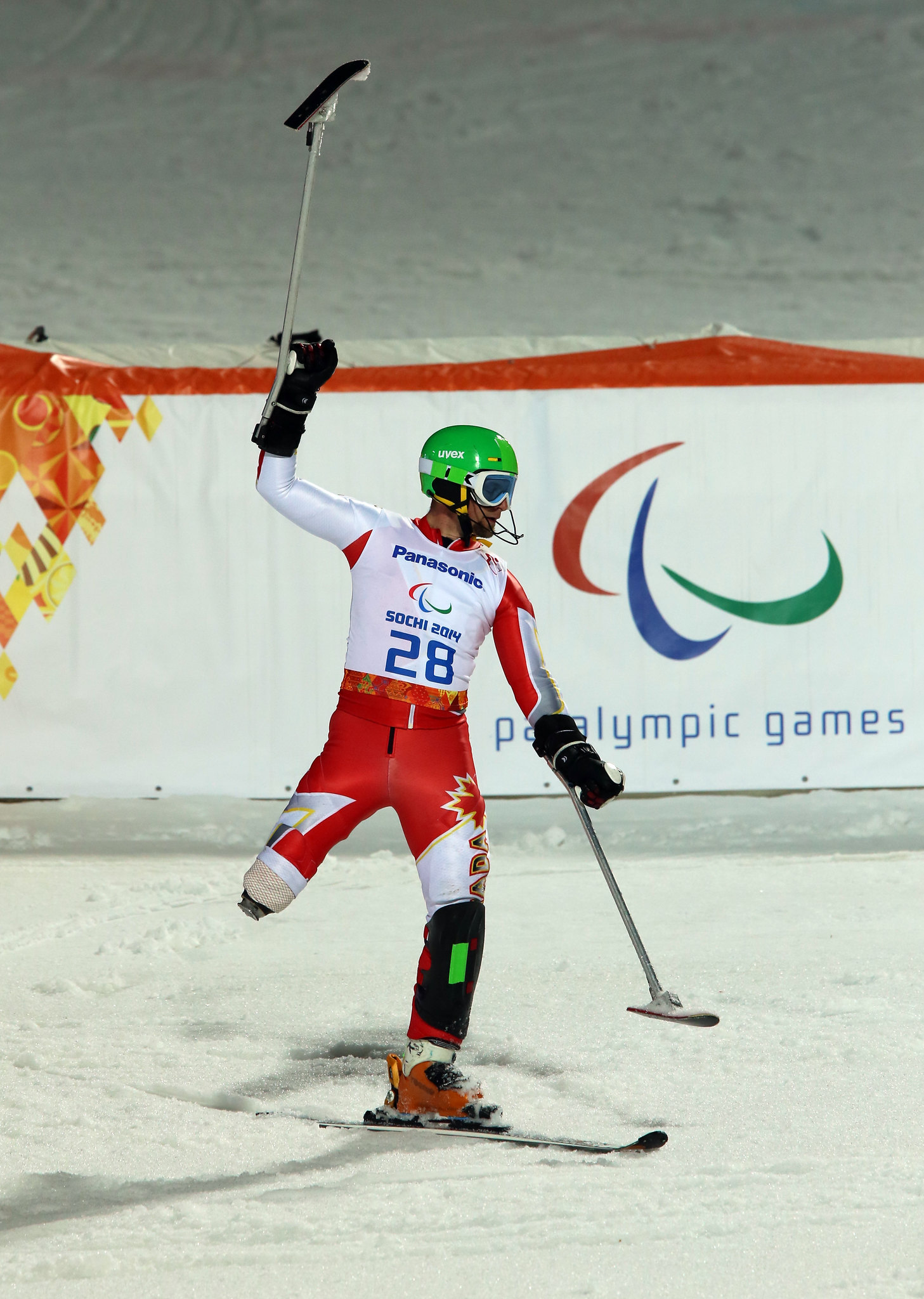 Matt Hallat finishes a solid slalom run in Sochi, RUS at the 2014 Paralympic Winter Games