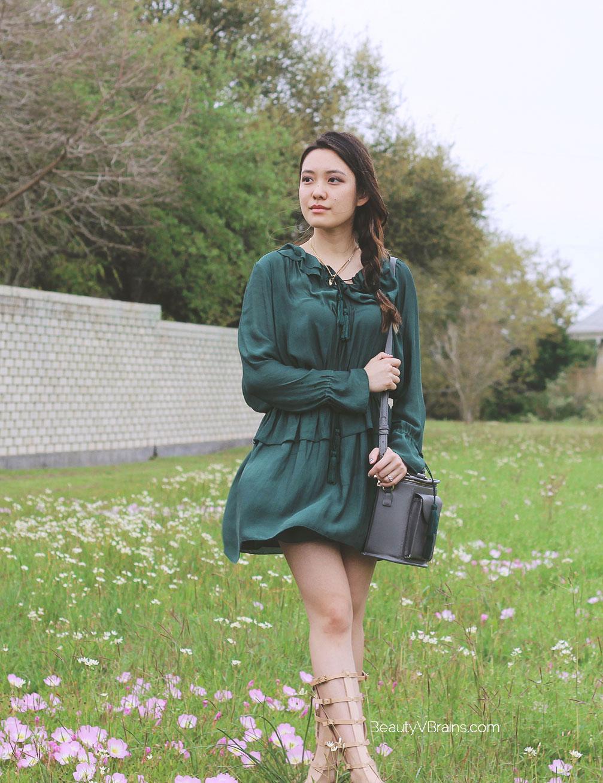 Green H&M chiffon peplum long sleeve dress