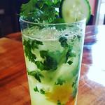 Cilantro/cucumber/orange Margarita/habenero lime simple syrup @rogueisland @ch57ad @billpietras #
