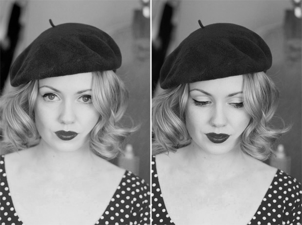 hair piece beret bw