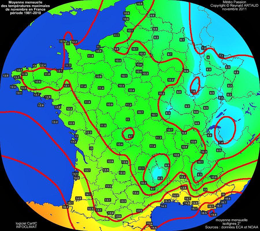 Moyennes mensuelles des températures maximales pour le mois de novembre en France sur la période 1981-2010