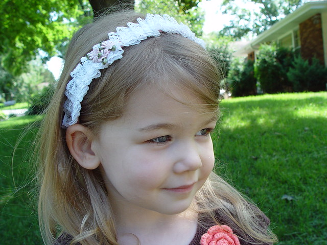 pleated lace headband, view 1