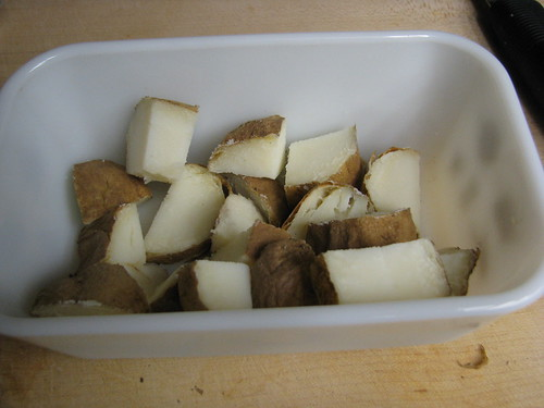cut up potatoes