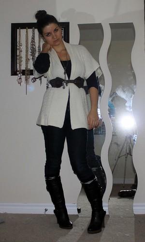 beltd cardigan + boots