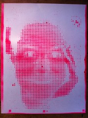 Spray painted laser cut halftone stencil