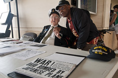 PEARL HARBOR (Dec. 3, 2011) Edward F. Borucki, retired chief petty officer and Pearl Harbor survivor, poses for a picture with a fellow survivor during a symposium at the Pearl Harbor Visitor Center.  (U.S. Navy photo by Mass Communication Specialist 3rd Class Dustin W. Sisco)