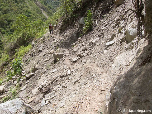 The Dutch girls approach a section of trail recently wiped away by a landslide