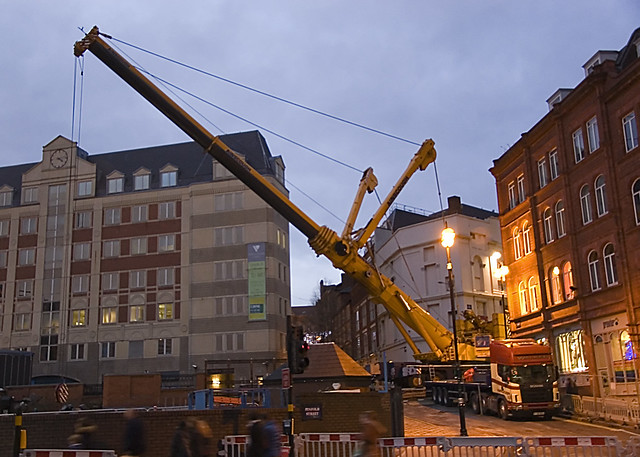 Mobile Crane Near Me : Mobile crane reaching from pinfold st part of the