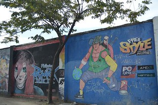 graffitti wall around Chinese Cemetery Queen City Gardens in Cebu City in Philippines