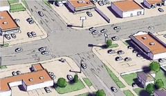 a suburban intersection before repair (courtesy of Galina Tachieva, Sprawl Repair Manual)