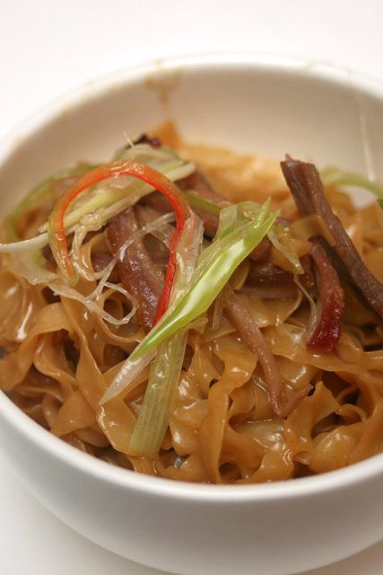 Braised Goose Web with Abalone Sauce on Egg Noodles