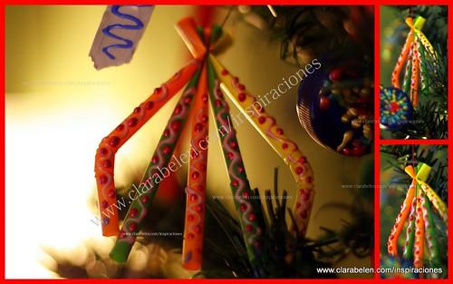 manualidades con reciclaje. Adornos de navidad con pajitas de plástico