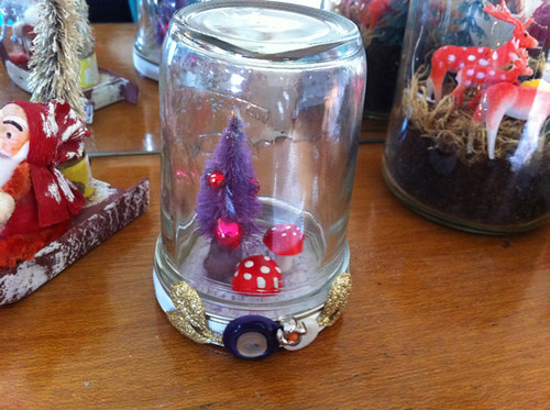 red and purple snowglobe