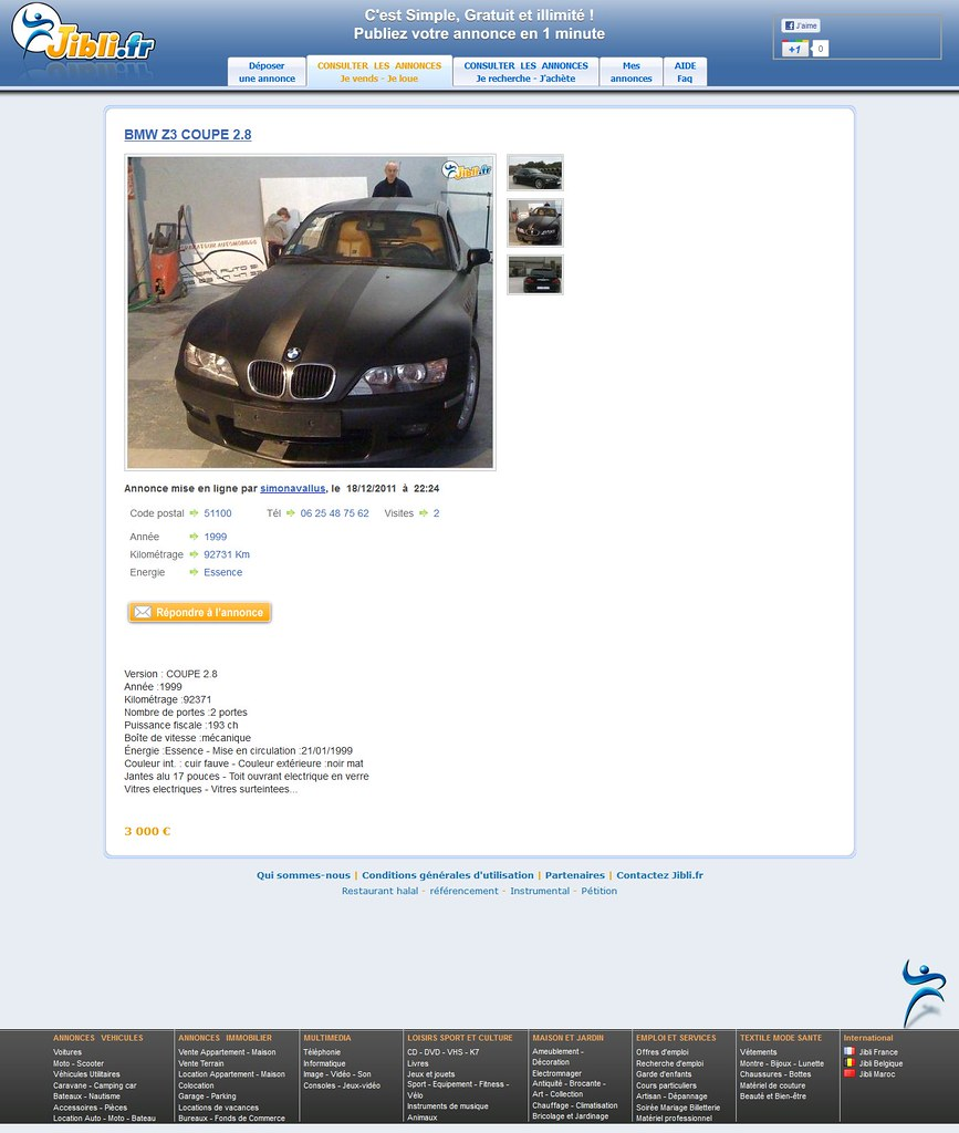 jibli.fr BMW Z3 Coupe for sale ad