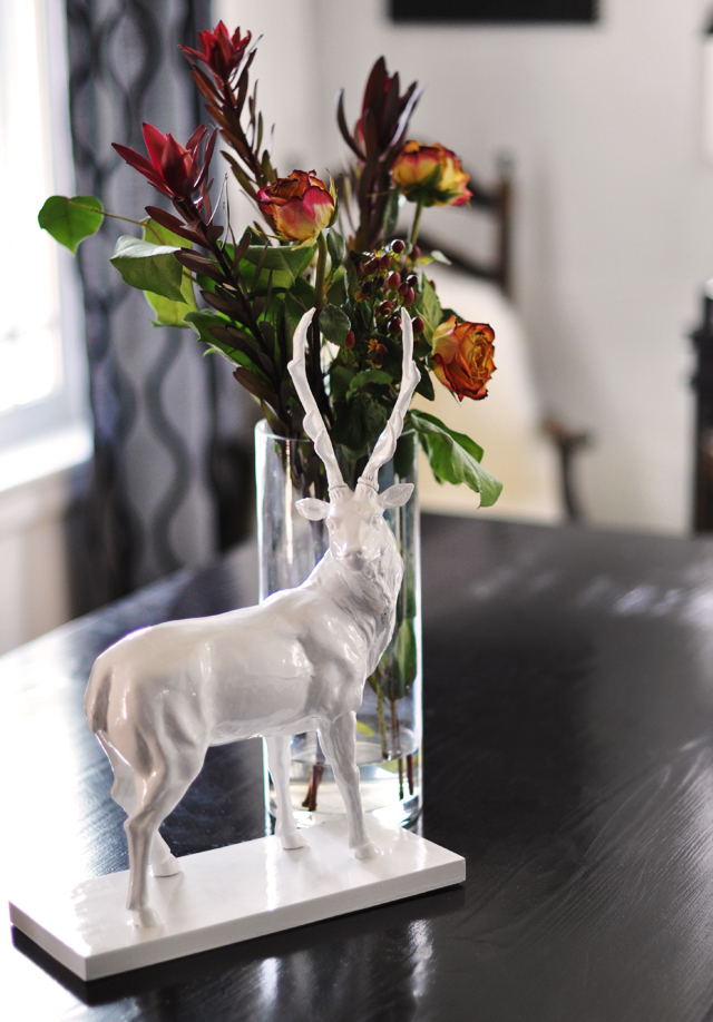 Reindeer and flowers on the table