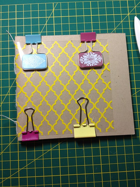 Step 6: use weight/clips to hold book together