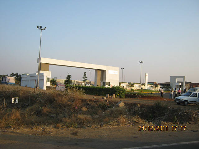 Gate of Mahindra Motors at Chakan MIDC - Visit to Kushal Swarnali Township, 1 BHK & 2 BHK Budget Flats at Chakan, Pune 410 501