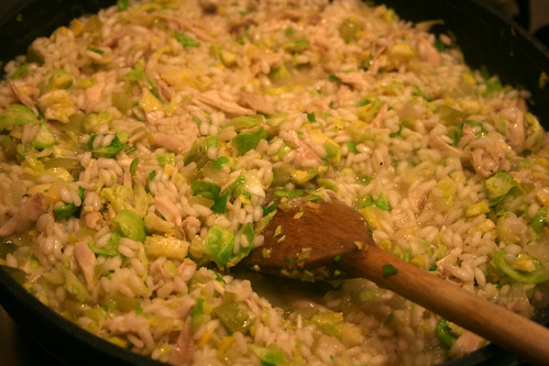 Roast Chicken and Brussels Sprout Risotto