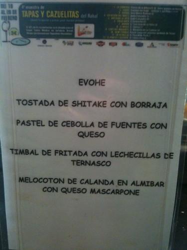 Zaragoza | Evohé | Carta