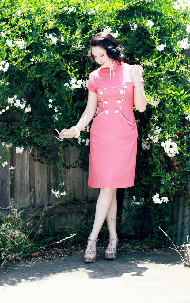 pink button dress c