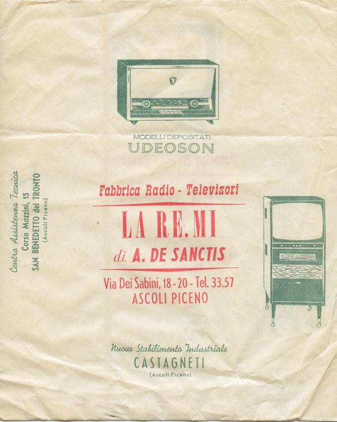 La busta per corrispondenza della fabbrica La RE.MI anni '60