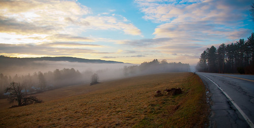 winter mist mountain tree field fog clouds dawn vermont farm valley woodstock