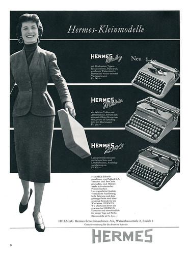 DU 1955-04 Hermes typewriter ad