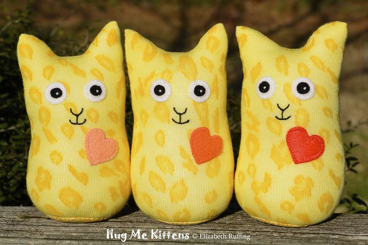 Yellow Animal Print Hug Me Sock Kittens, original art toys by Elizabeth Ruffing